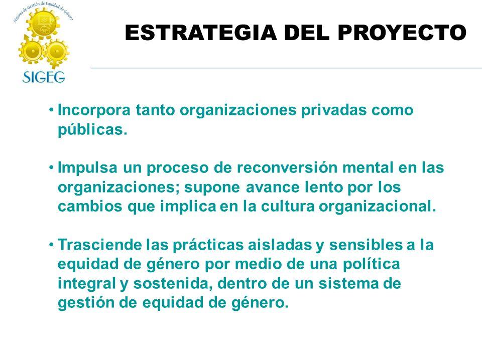 ESTRATEGIA DEL PROYECTO Incorpora tanto organizaciones privadas como públicas. Impulsa un proceso de reconversión mental en las organizaciones; supone