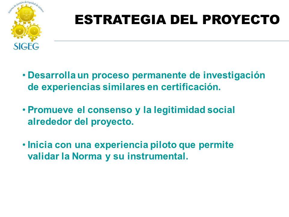 ESTRATEGIA DEL PROYECTO Desarrolla un proceso permanente de investigación de experiencias similares en certificación. Promueve el consenso y la legiti