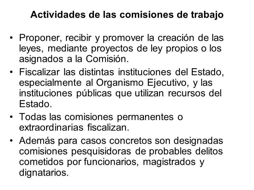 Actividades de las comisiones de trabajo Proponer, recibir y promover la creación de las leyes, mediante proyectos de ley propios o los asignados a la