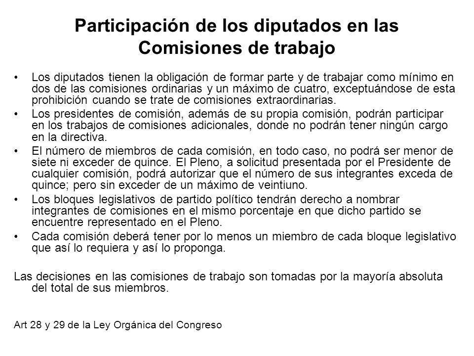 Participación de los diputados en las Comisiones de trabajo Los diputados tienen la obligación de formar parte y de trabajar como mínimo en dos de las comisiones ordinarias y un máximo de cuatro, exceptuándose de esta prohibición cuando se trate de comisiones extraordinarias.