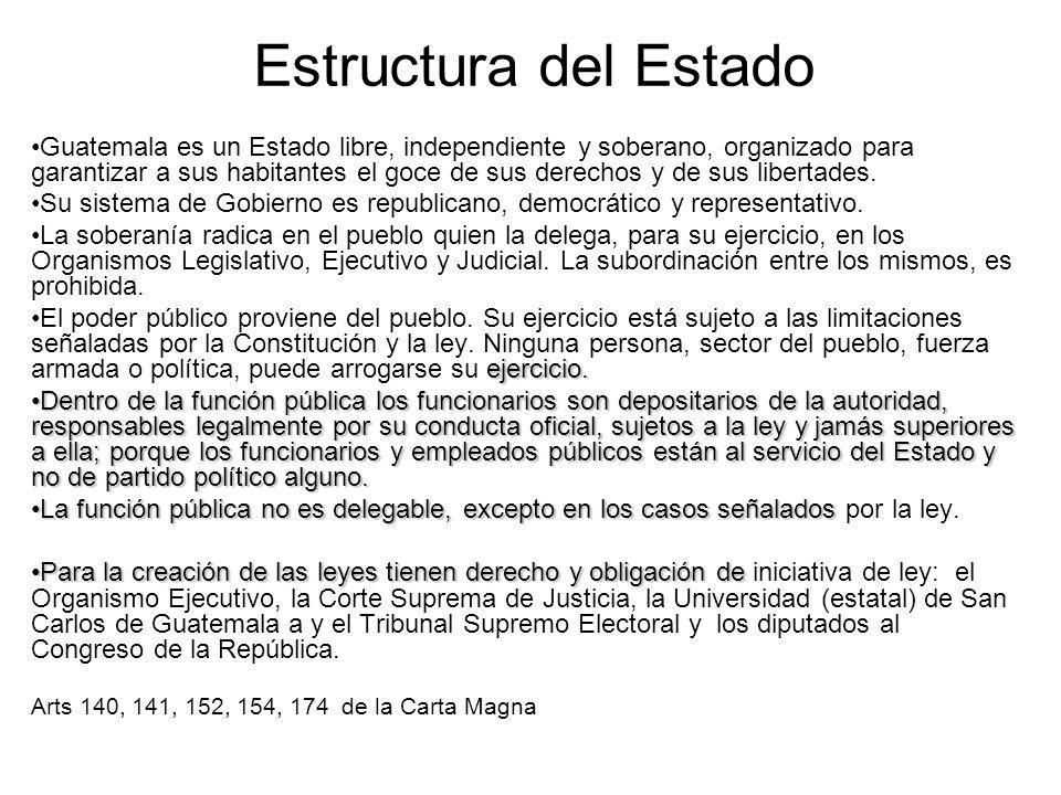 Estructura del Estado Guatemala es un Estado libre, independiente y soberano, organizado para garantizar a sus habitantes el goce de sus derechos y de sus libertades.