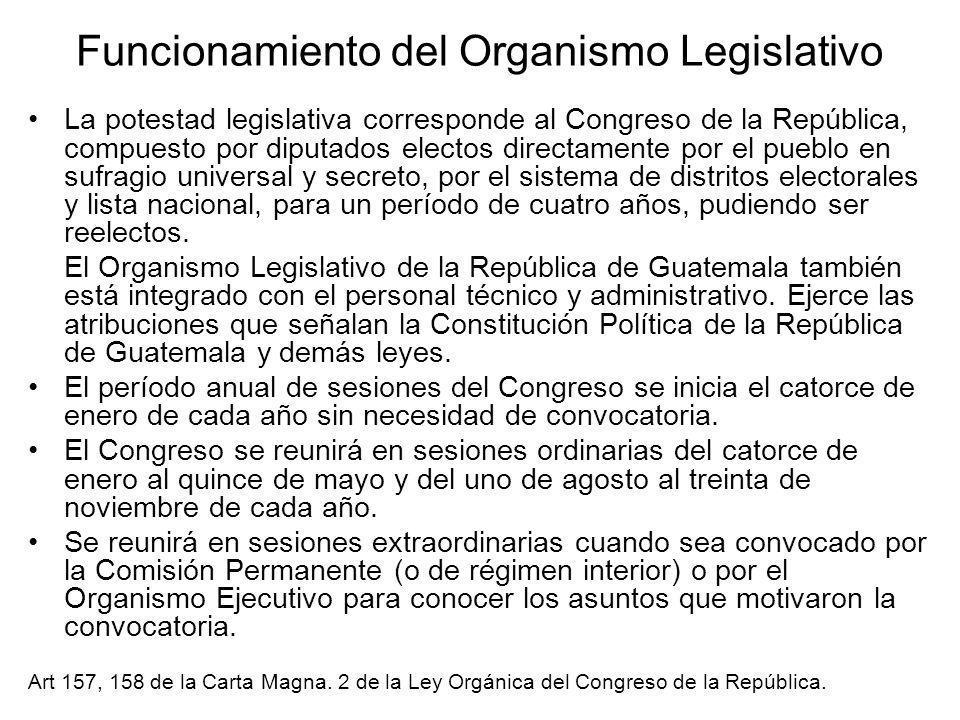 Funcionamiento del Organismo Legislativo La potestad legislativa corresponde al Congreso de la República, compuesto por diputados electos directamente