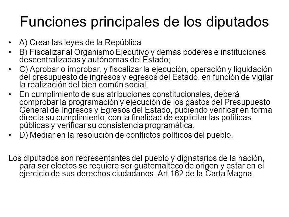 Funciones principales de los diputados A) Crear las leyes de la República B) Fiscalizar al Organismo Ejecutivo y demás poderes e instituciones descent