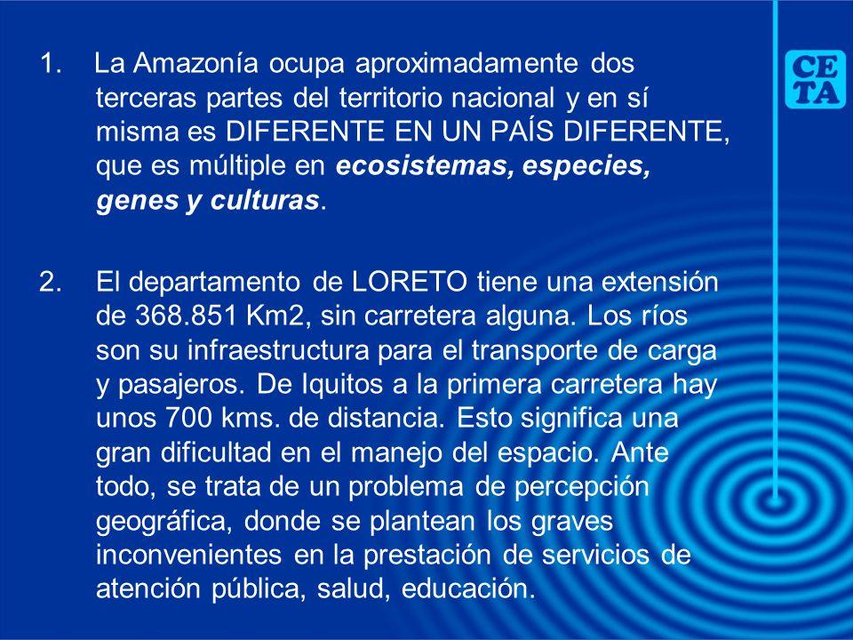 1. La Amazonía ocupa aproximadamente dos terceras partes del territorio nacional y en sí misma es DIFERENTE EN UN PAÍS DIFERENTE, que es múltiple en e