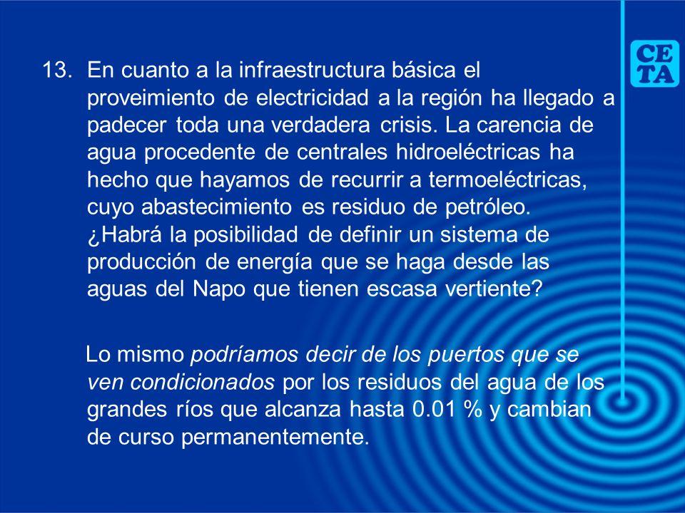 13.En cuanto a la infraestructura básica el proveimiento de electricidad a la región ha llegado a padecer toda una verdadera crisis. La carencia de ag