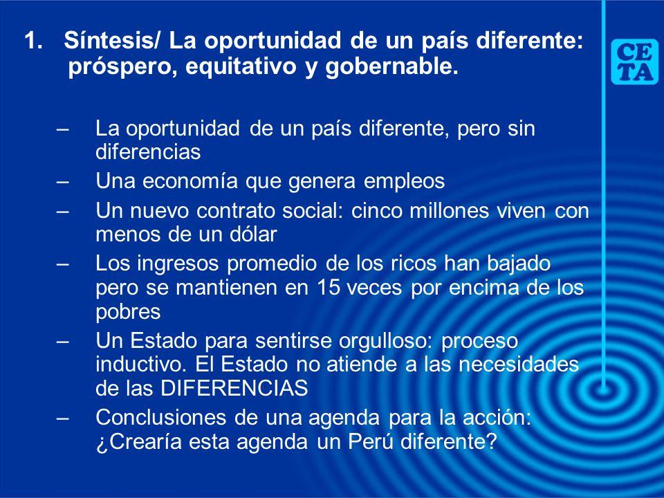 1. Síntesis/ La oportunidad de un país diferente: próspero, equitativo y gobernable. –La oportunidad de un país diferente, pero sin diferencias –Una e
