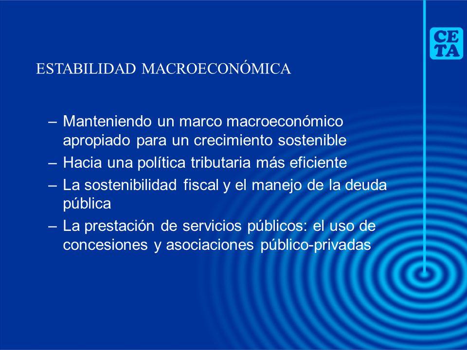 –Manteniendo un marco macroeconómico apropiado para un crecimiento sostenible –Hacia una política tributaria más eficiente –La sostenibilidad fiscal y