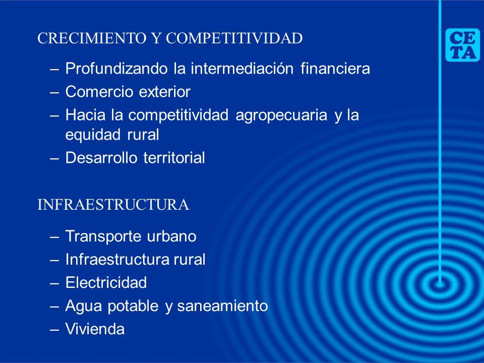 –Profundizando la intermediación financiera –Comercio exterior –Hacia la competitividad agropecuaria y la equidad rural –Desarrollo territorial CRECIM