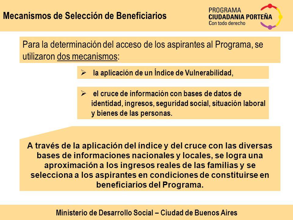 Mecanismos de Selección de Beneficiarios Para la determinación del acceso de los aspirantes al Programa, se utilizaron dos mecanismos: la aplicación d