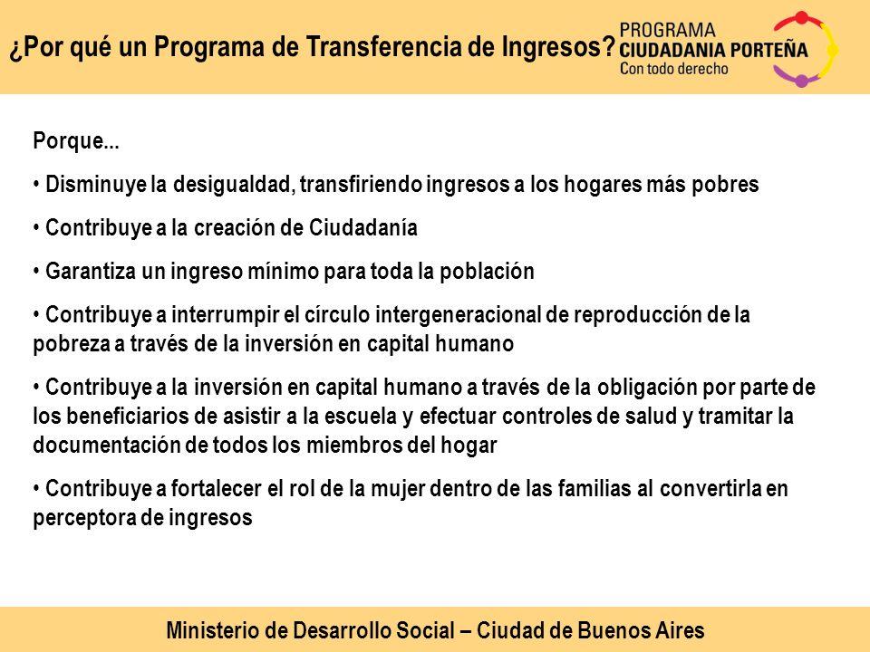 ¿Por qué un Programa de Transferencia de Ingresos? Ministerio de Desarrollo Social – Ciudad de Buenos Aires Porque... Disminuye la desigualdad, transf