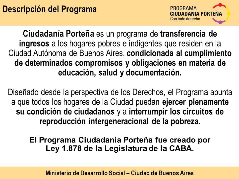 Descripción del Programa Ciudadanía Porteña es un programa de transferencia de ingresos a los hogares pobres e indigentes que residen en la Ciudad Aut