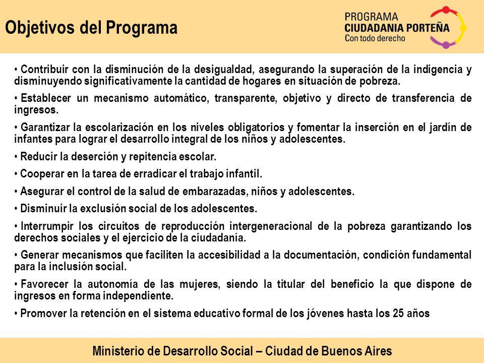 Objetivos del Programa Contribuir con la disminución de la desigualdad, asegurando la superación de la indigencia y disminuyendo significativamente la