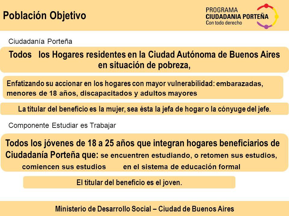 Población Objetivo Todos los Hogares residentes en la Ciudad Autónoma de Buenos Aires en situación de pobreza, Enfatizando su accionar en los hogares