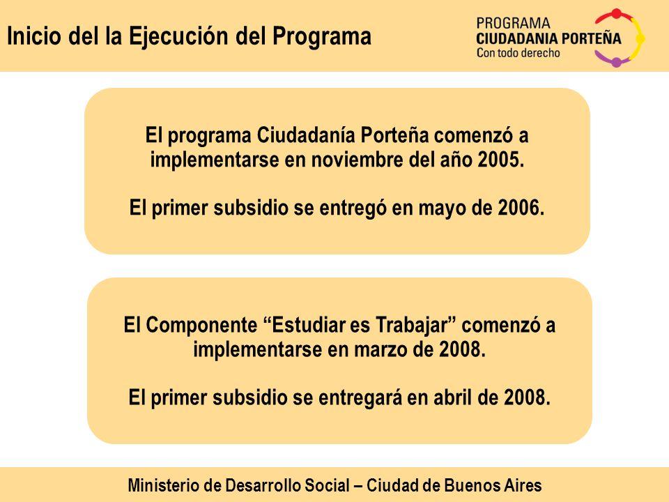 Inicio del la Ejecución del Programa El programa Ciudadanía Porteña comenzó a implementarse en noviembre del año 2005. El primer subsidio se entregó e