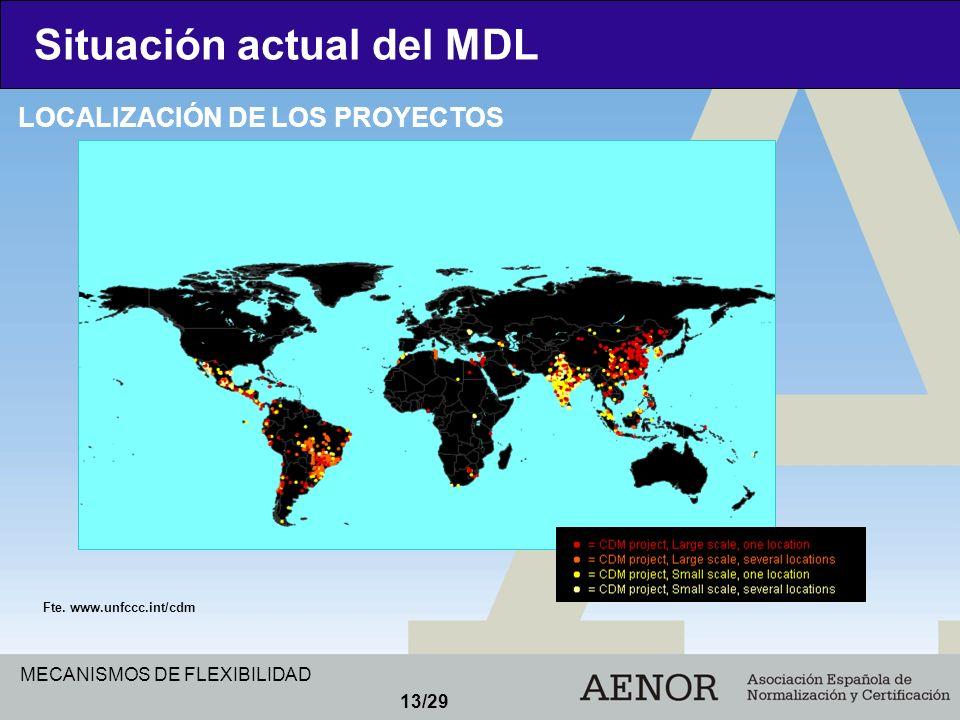 MECANISMOS DE FLEXIBILIDAD 13/29 Situación actual del MDL LOCALIZACIÓN DE LOS PROYECTOS Fte. www.unfccc.int/cdm