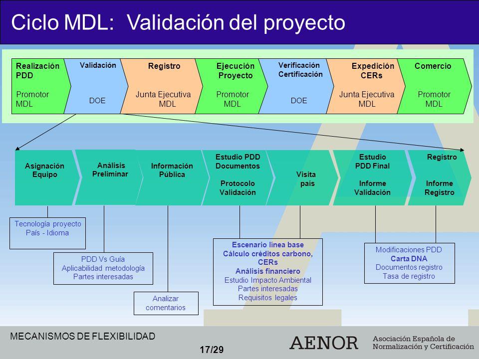 MECANISMOS DE FLEXIBILIDAD 17/29 Realización PDD Promotor MDL Validación DOE Registro Junta Ejecutiva MDL Ejecución Proyecto Promotor MDL Verificación