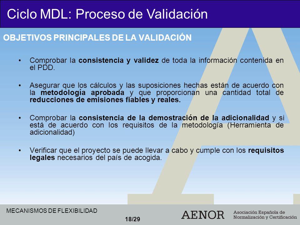 MECANISMOS DE FLEXIBILIDAD 18/29 Comprobar la consistencia y validez de toda la información contenida en el PDD. Asegurar que los cálculos y las supos