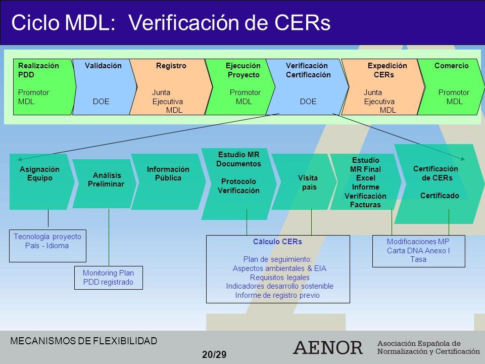 MECANISMOS DE FLEXIBILIDAD 20/29 Realización PDD Promotor MDL Validación DOE Registro Junta Ejecutiva MDL Ejecución Proyecto Promotor MDL Verificación