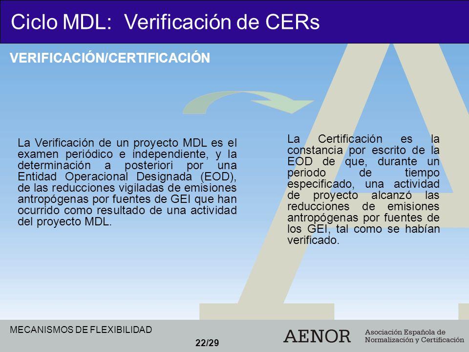 MECANISMOS DE FLEXIBILIDAD 22/29 La Verificación de un proyecto MDL es el examen periódico e independiente, y la determinación a posteriori por una En