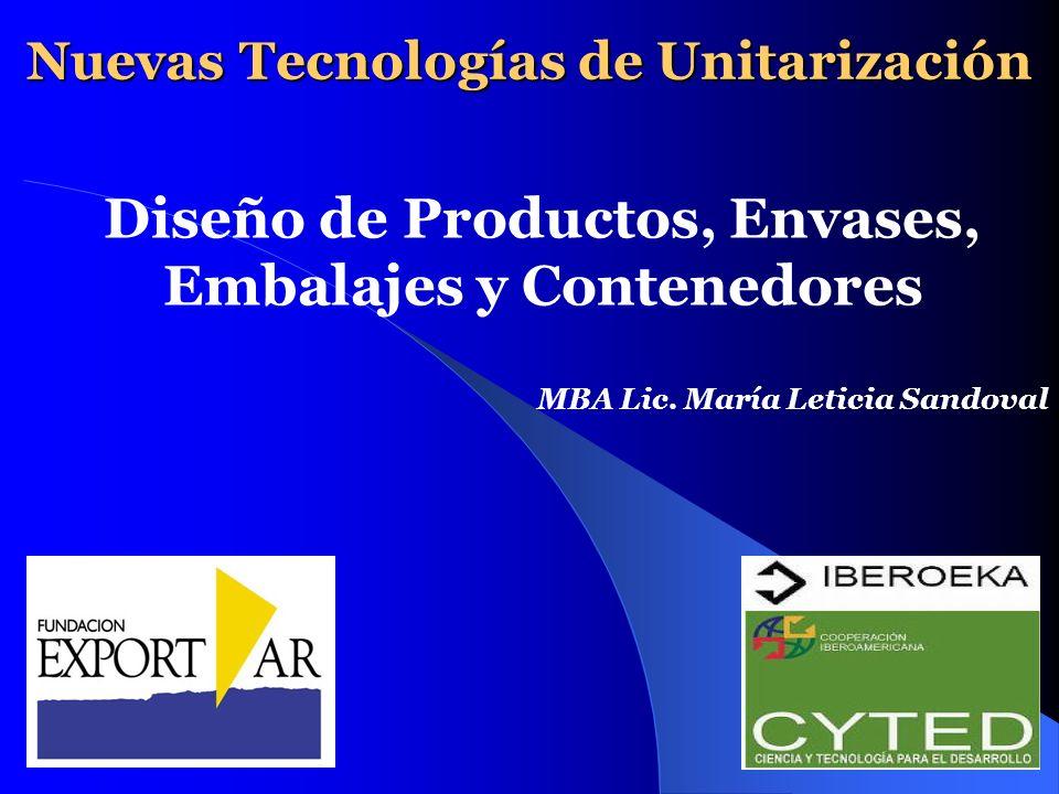 Nuevas Tecnologías de Unitarización Diseño de Productos, Envases, Embalajes y Contenedores MBA Lic. María Leticia Sandoval