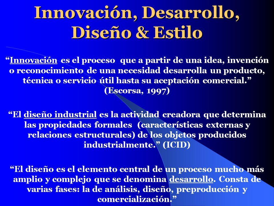 Innovación, Desarrollo, Diseño & Estilo Innovación es el proceso que a partir de una idea, invención o reconocimiento de una necesidad desarrolla un p