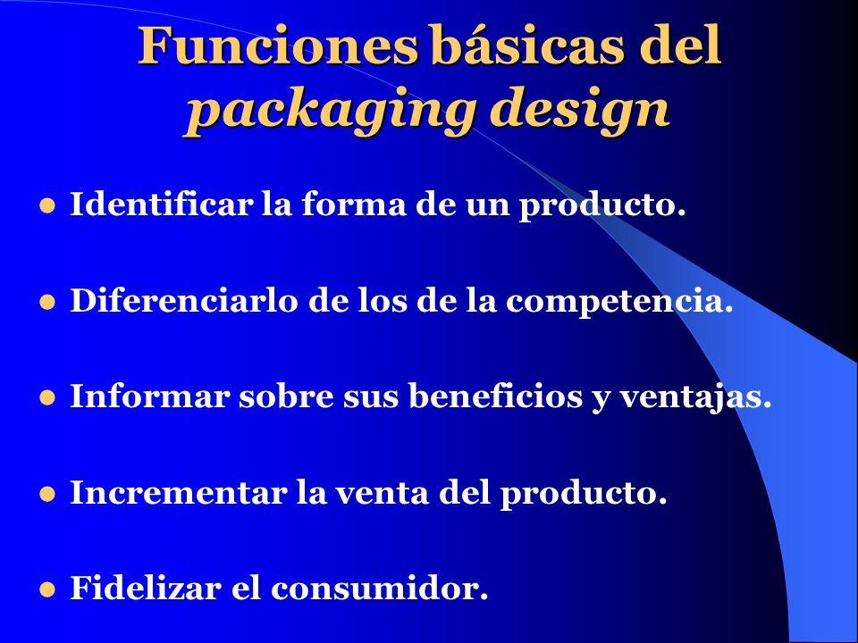 Funciones básicas del packaging design Identificar la forma de un producto. Diferenciarlo de los de la competencia. Informar sobre sus beneficios y ve