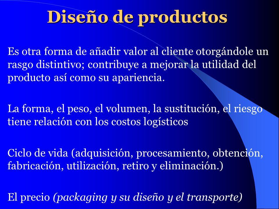 Diseño de productos Es otra forma de añadir valor al cliente otorgándole un rasgo distintivo; contribuye a mejorar la utilidad del producto así como s