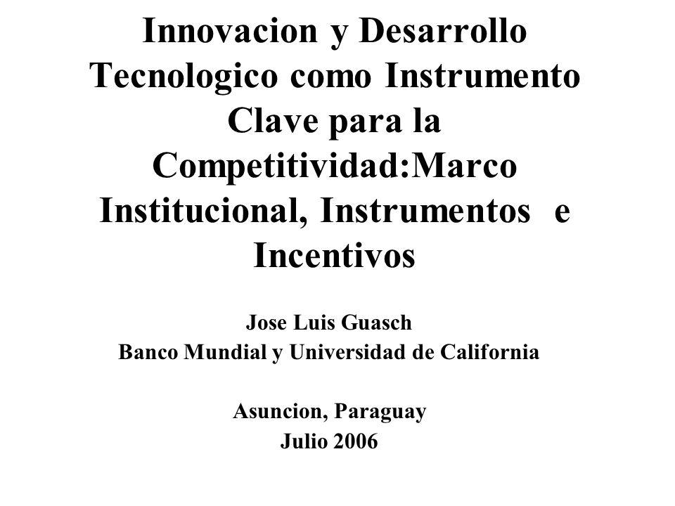 Innovacion y Desarrollo Tecnologico como Instrumento Clave para la Competitividad:Marco Institucional, Instrumentos e Incentivos Jose Luis Guasch Banc