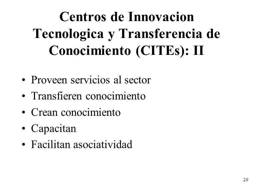 29 Centros de Innovacion Tecnologica y Transferencia de Conocimiento (CITEs): II Proveen servicios al sector Transfieren conocimiento Crean conocimien