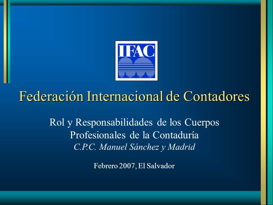 Federación Internacional de Contadores Rol y Responsabilidades de los Cuerpos Profesionales de la Contaduría C.P.C. Manuel Sánchez y Madrid Febrero 20