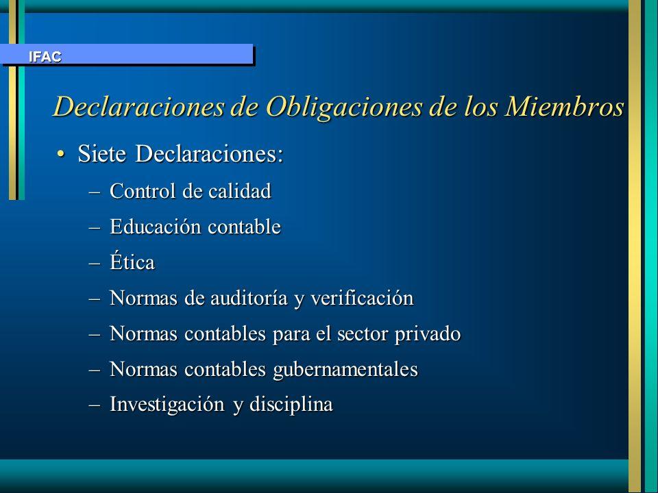 Declaraciones de Obligaciones de los Miembros Declaraciones de Obligaciones de los Miembros Siete Declaraciones:Siete Declaraciones: –Control de calid
