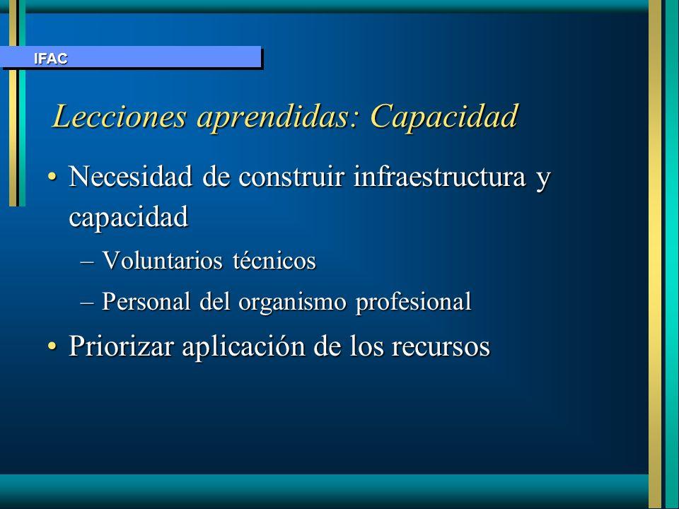 Lecciones aprendidas: Capacidad Necesidad de construir infraestructura y capacidadNecesidad de construir infraestructura y capacidad –Voluntarios técn