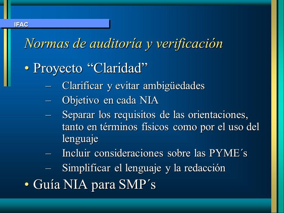 Proyecto ClaridadProyecto Claridad –Clarificar y evitar ambigüedades –Objetivo en cada NIA –Separar los requisitos de las orientaciones, tanto en térm
