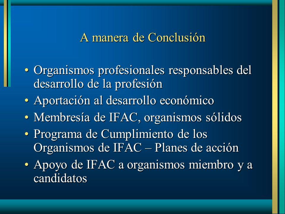 A manera de Conclusión Organismos profesionales responsables del desarrollo de la profesiónOrganismos profesionales responsables del desarrollo de la
