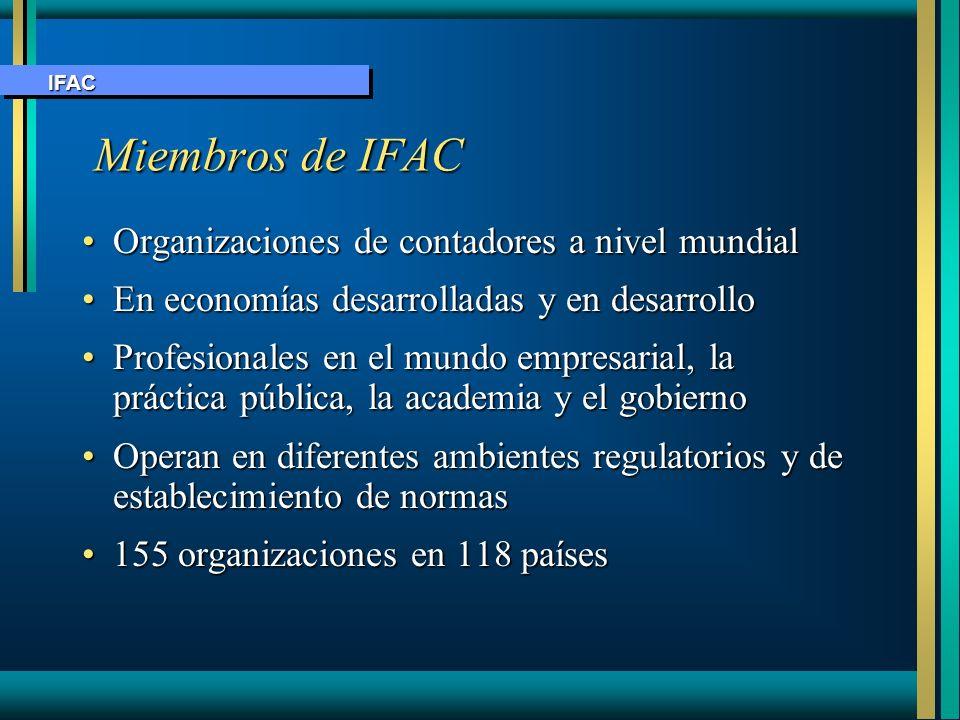 Miembros de IFAC Miembros de IFAC Organizaciones de contadores a nivel mundialOrganizaciones de contadores a nivel mundial En economías desarrolladas