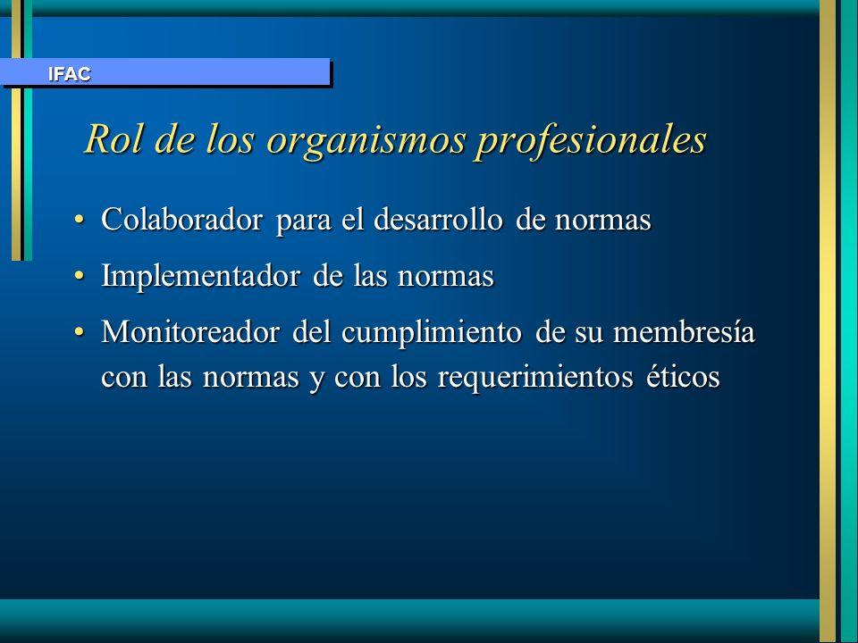 Rol de los organismos profesionales Rol de los organismos profesionales Colaborador para el desarrollo de normasColaborador para el desarrollo de norm