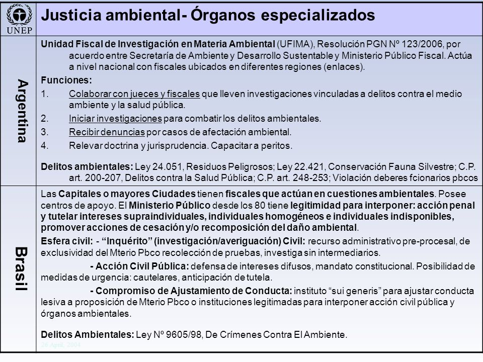 Division Of Early Warning And Assessment Global Environment Outlook: Assessment for Decision-making 26 April, 2004 Justicia ambiental- Órganos especia