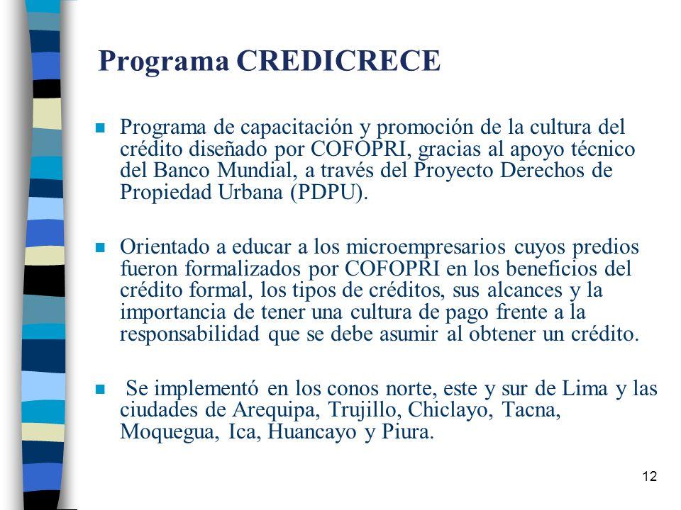 12 Programa CREDICRECE n Programa de capacitación y promoción de la cultura del crédito diseñado por COFOPRI, gracias al apoyo técnico del Banco Mundial, a través del Proyecto Derechos de Propiedad Urbana (PDPU).