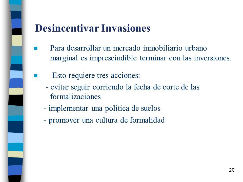 20 Desincentivar Invasiones n Para desarrollar un mercado inmobiliario urbano marginal es imprescindible terminar con las inversiones.
