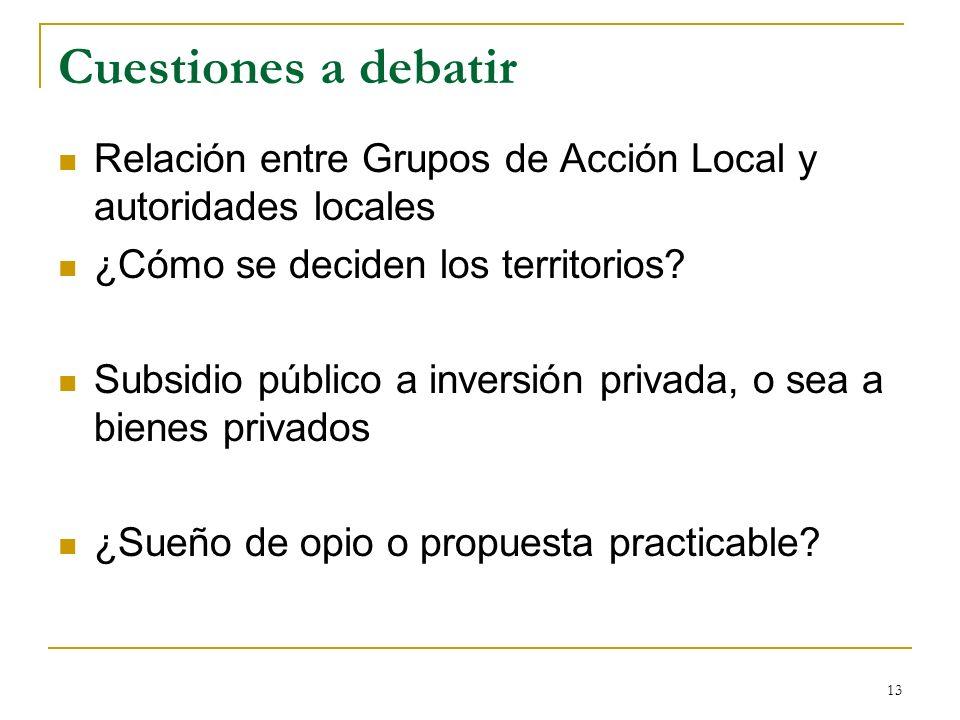 13 Cuestiones a debatir Relación entre Grupos de Acción Local y autoridades locales ¿Cómo se deciden los territorios.