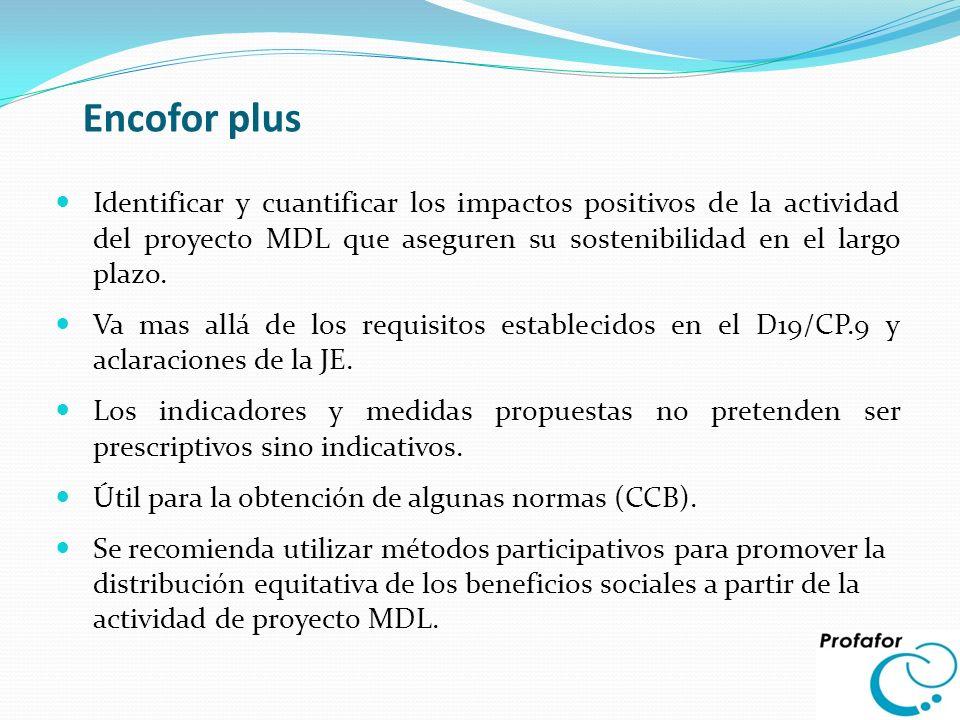 Encofor plus Identificar y cuantificar los impactos positivos de la actividad del proyecto MDL que aseguren su sostenibilidad en el largo plazo. Va ma