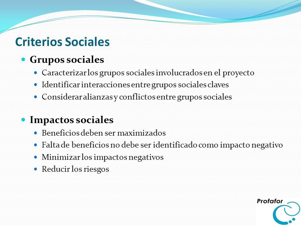 Criterios Sociales Grupos sociales Caracterizar los grupos sociales involucrados en el proyecto Identificar interacciones entre grupos sociales claves
