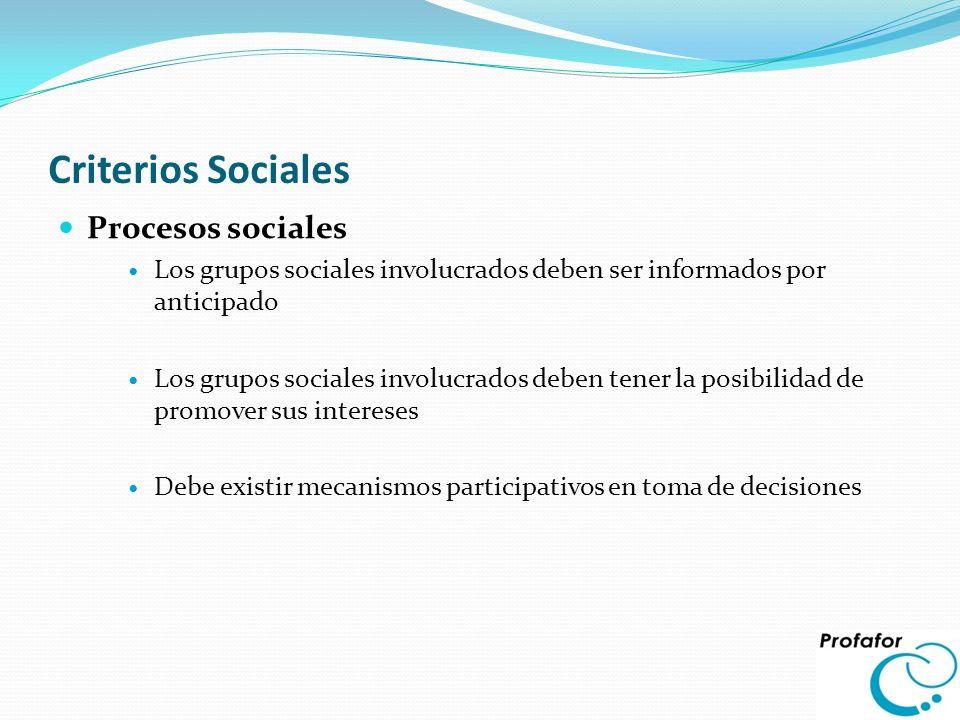 Criterios Sociales Procesos sociales Los grupos sociales involucrados deben ser informados por anticipado Los grupos sociales involucrados deben tener