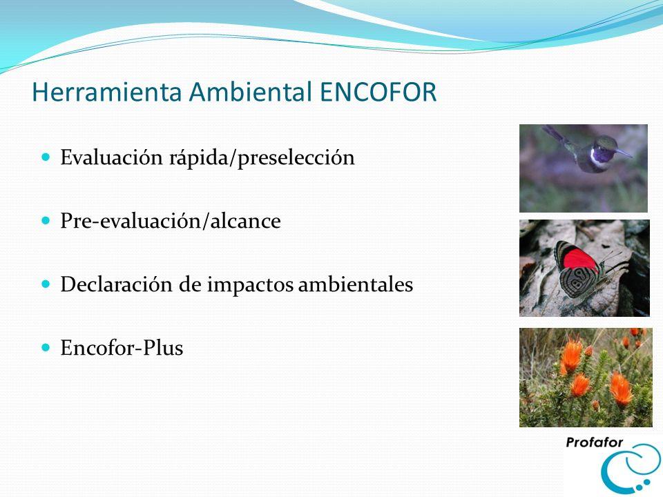 Herramienta Ambiental ENCOFOR Evaluación rápida/preselección Pre-evaluación/alcance Declaración de impactos ambientales Encofor-Plus