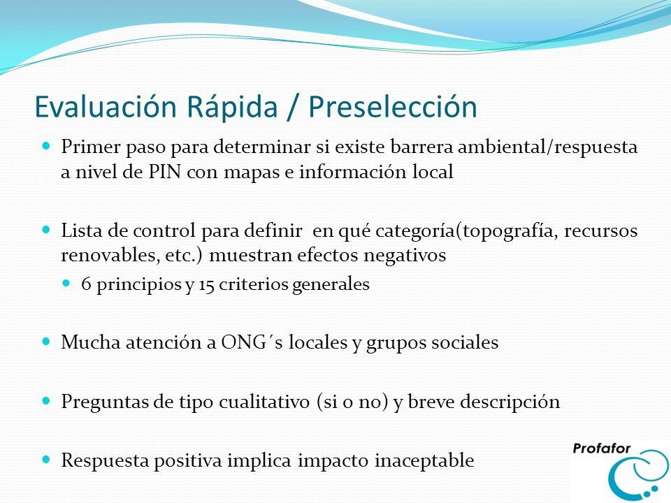 Evaluación Rápida / Preselección Primer paso para determinar si existe barrera ambiental/respuesta a nivel de PIN con mapas e información local Lista