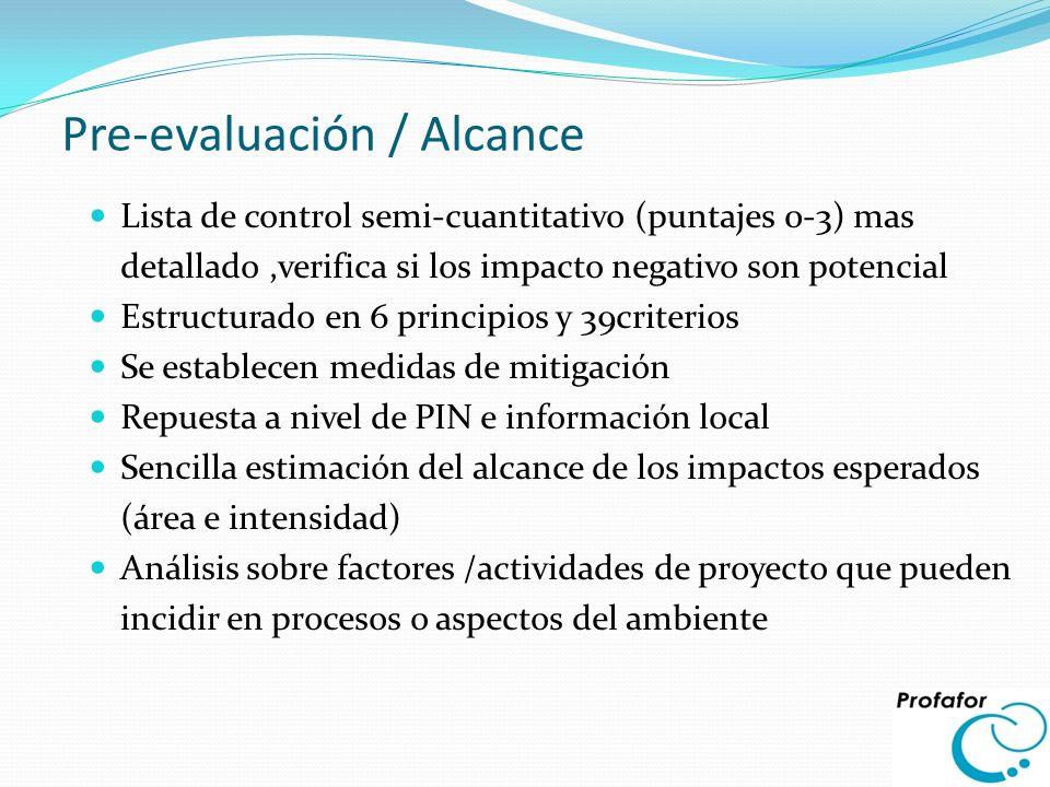 Pre-evaluación / Alcance Lista de control semi-cuantitativo (puntajes 0-3) mas detallado,verifica si los impacto negativo son potencial Estructurado e