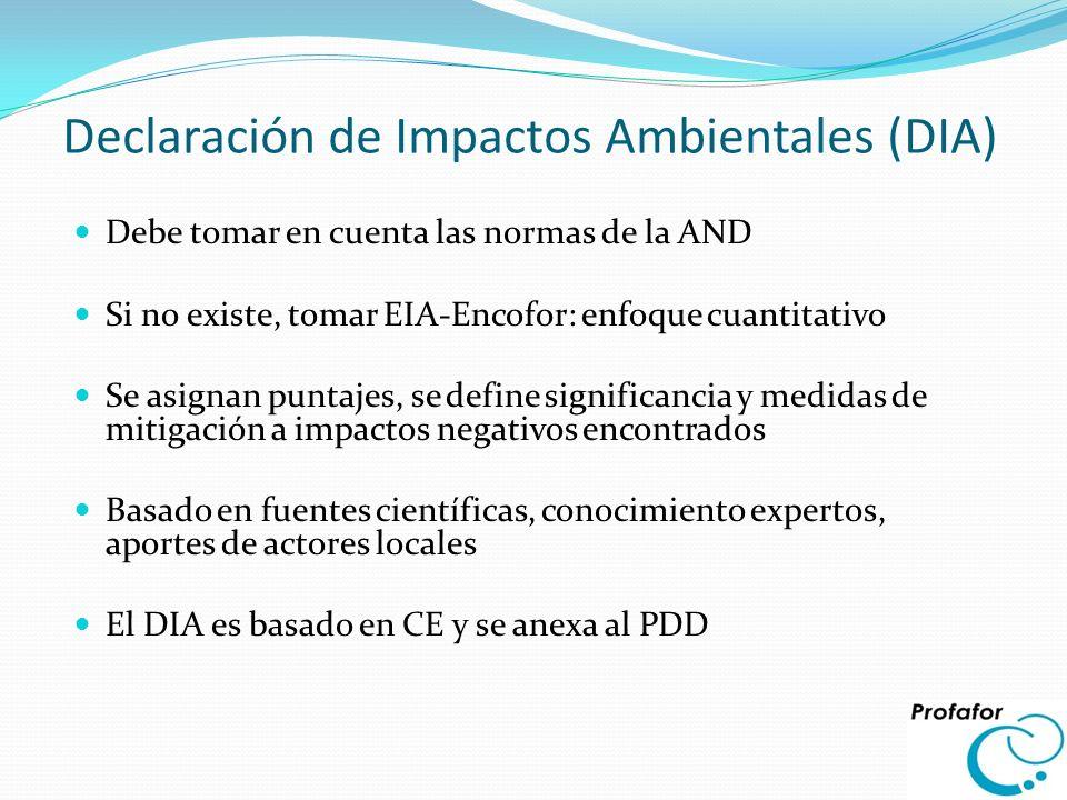 Declaración de Impactos Ambientales (DIA) Debe tomar en cuenta las normas de la AND Si no existe, tomar EIA-Encofor: enfoque cuantitativo Se asignan p