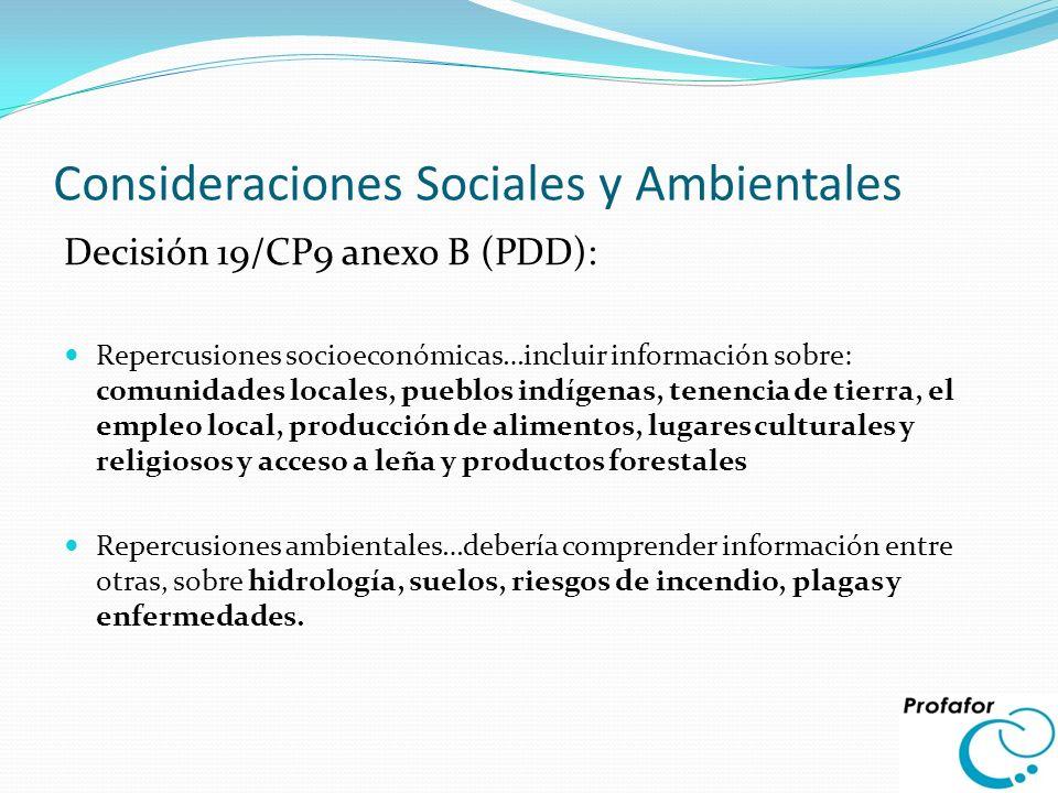 Consideraciones Sociales y Ambientales Decisión 19/CP9 anexo B (PDD): Repercusiones socioeconómicas…incluir información sobre: comunidades locales, pu