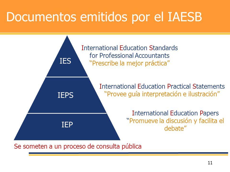 11 Documentos emitidos por el IAESB IES IEPS IEP International Education Standards for Professional Accountants Prescribe la mejor práctica Internatio