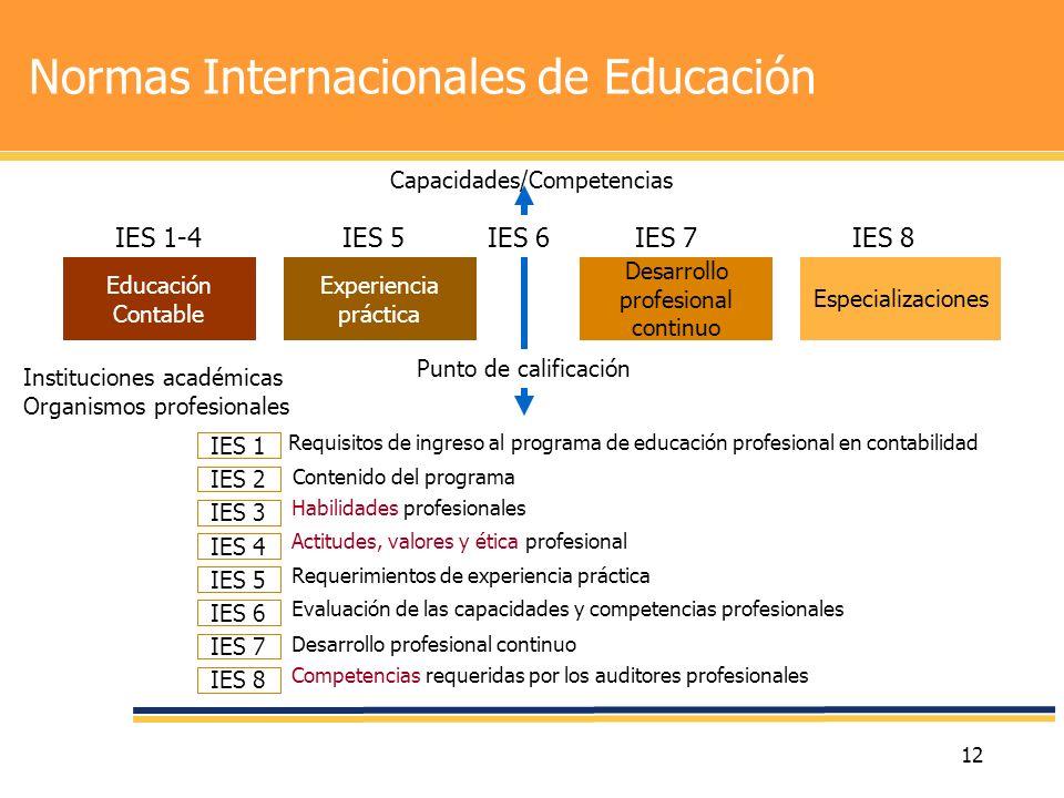 12 Normas Internacionales de Educación Experiencia práctica Educación Contable Desarrollo profesional continuo Especializaciones IES 1-4IES 5IES 7IES